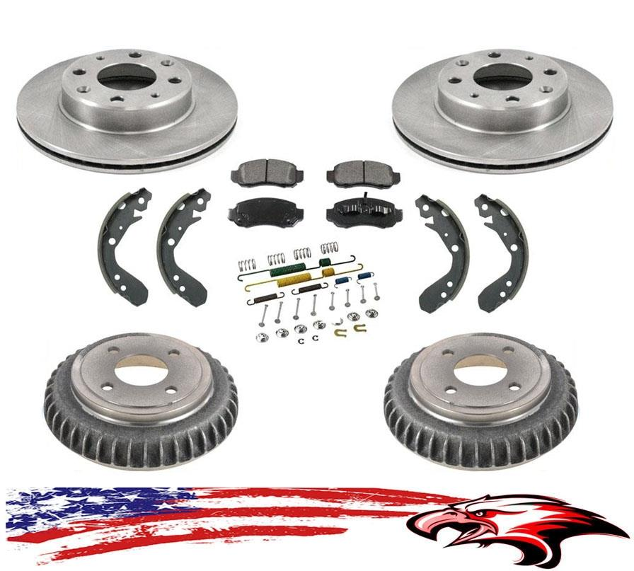 New Front Rotors Rear Drums Brake Pads Shoes /& Hardware for Honda Insight 00-06