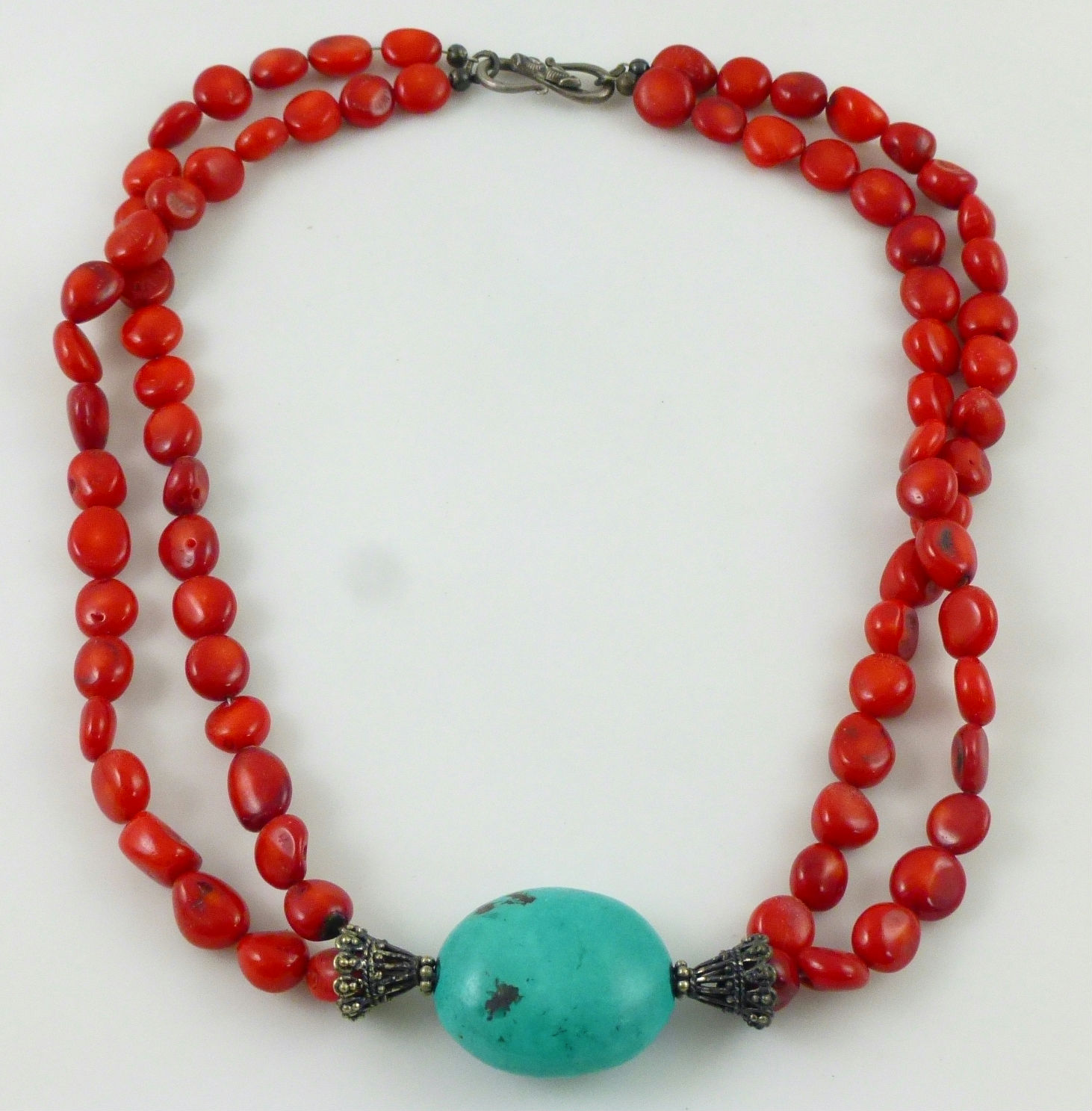 Green turquoise pendant red coral beaded sterling silver necklace ebay green turquoise pendant red coral beaded sterling silver necklace aloadofball Image collections