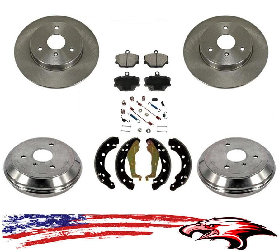 Front Rear Disc Brake Rotors Semi-Metallic Pads And Drum Kit 7Pc For Ford Focus