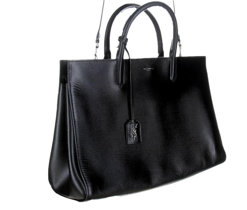 387caed293 Saint Laurent YSL Cabas Rive Gauche Black Tote Bag Handbag