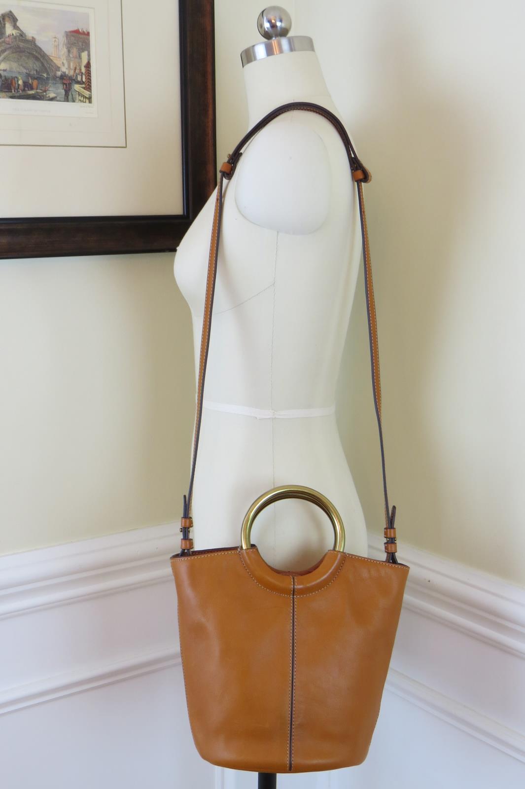 32a41e29ebd1 Details about JCrew Bracelet Bucket Bag Italan Leather Handbag H5001  178  Copper Natural