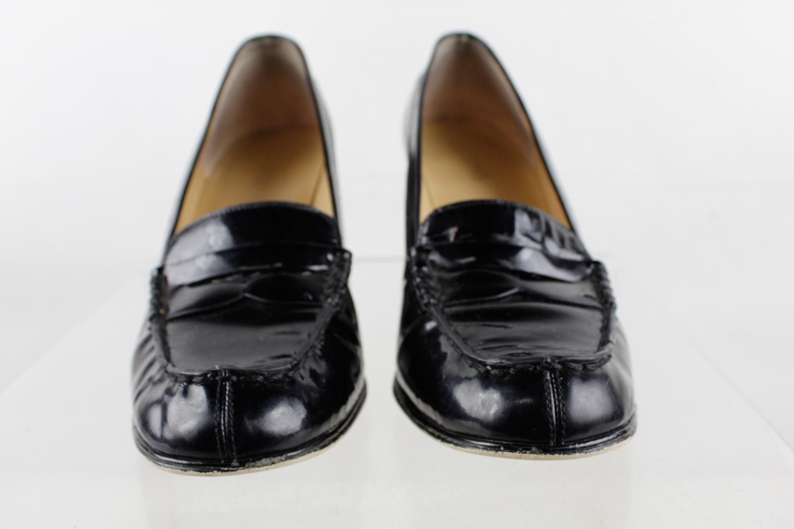 ba91d640a5b Michael Michael Kors Black Patent Leather Chunky Heel Penny Loafer Pumps SZ  7.5M