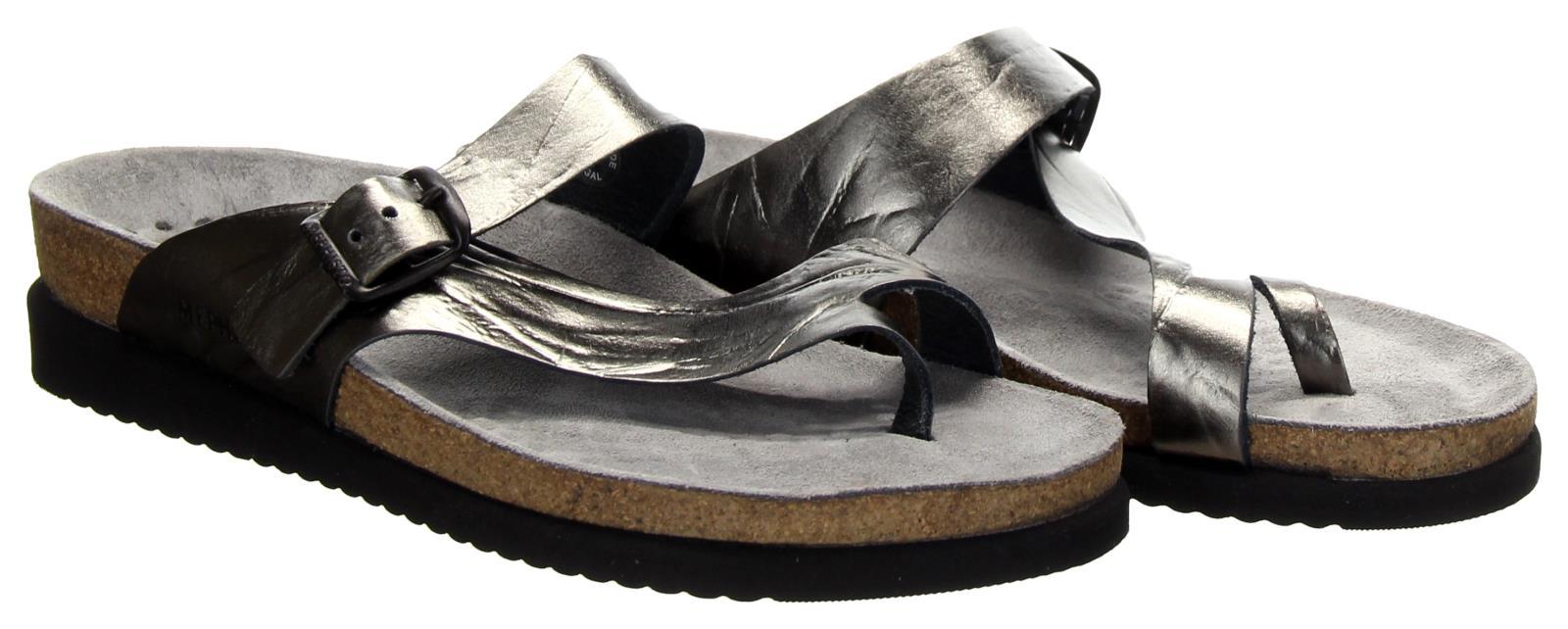 Mephisto Helen Water-Repellent Nubuck Slip-on Sandals Silver Sz 39
