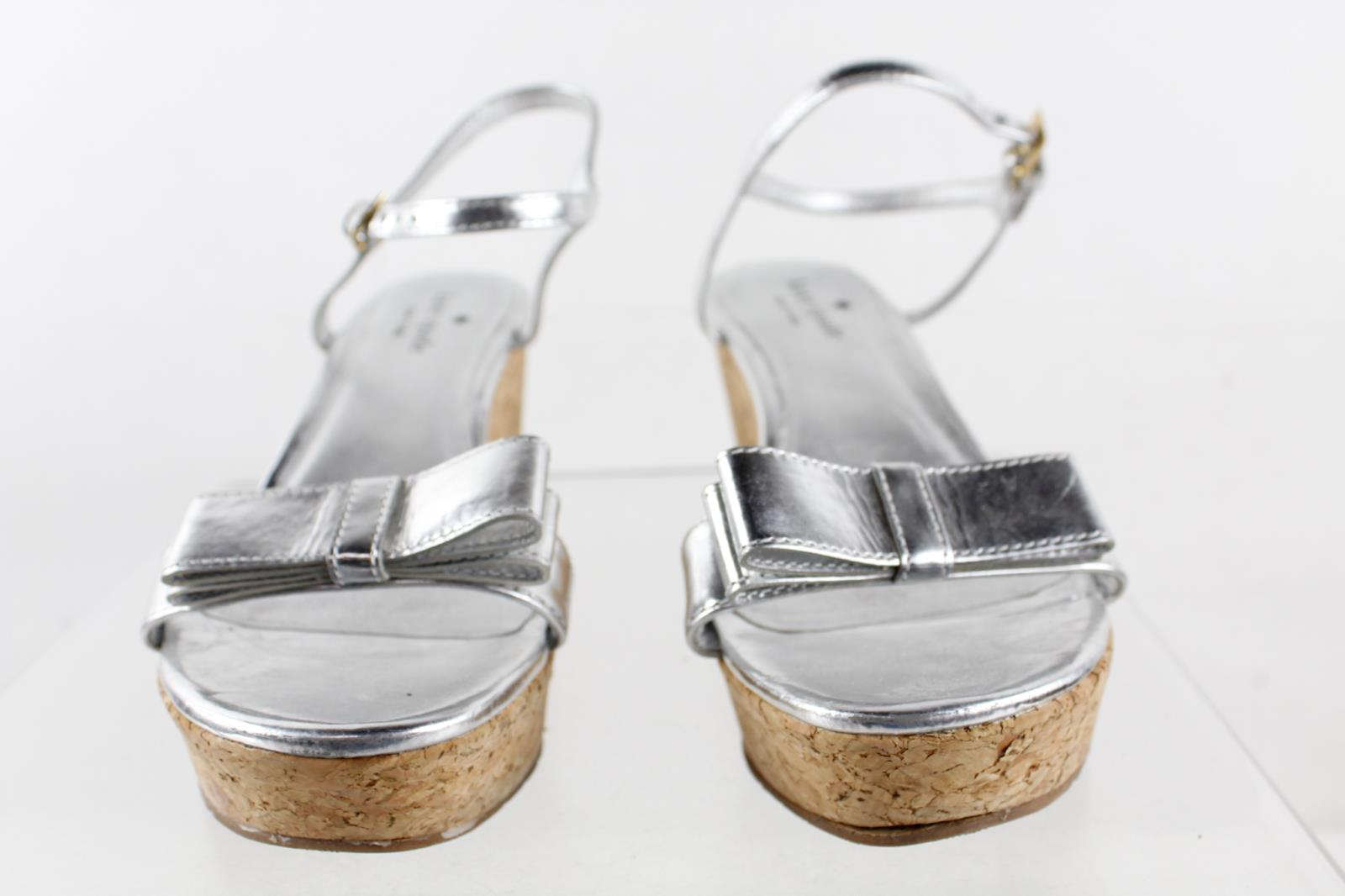 bb035a6dace934 Kate Spade New York Silver Bow Cork Platform Wedge Sandals Size 5M ...