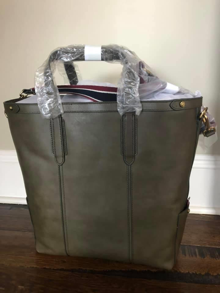 Details About Jcrew Oar Stripe Leather Tote Bag 298 Dark Moss K0334 Large Laptop Work Lyh