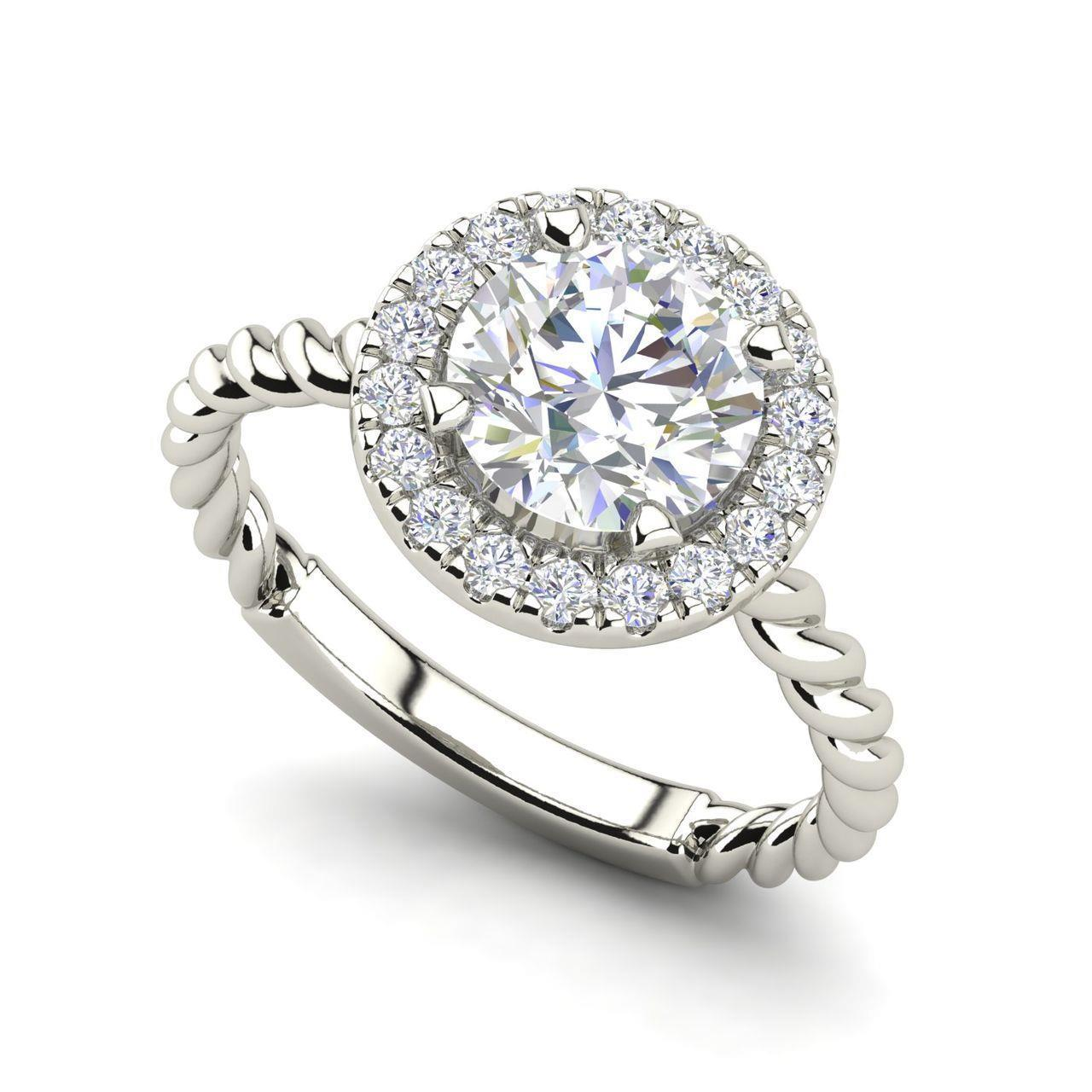 f48674d1096 Details about Pave Halo Twist 1.9 Carat VS1 H Round Cut Diamond Engagement  Ring White Gold