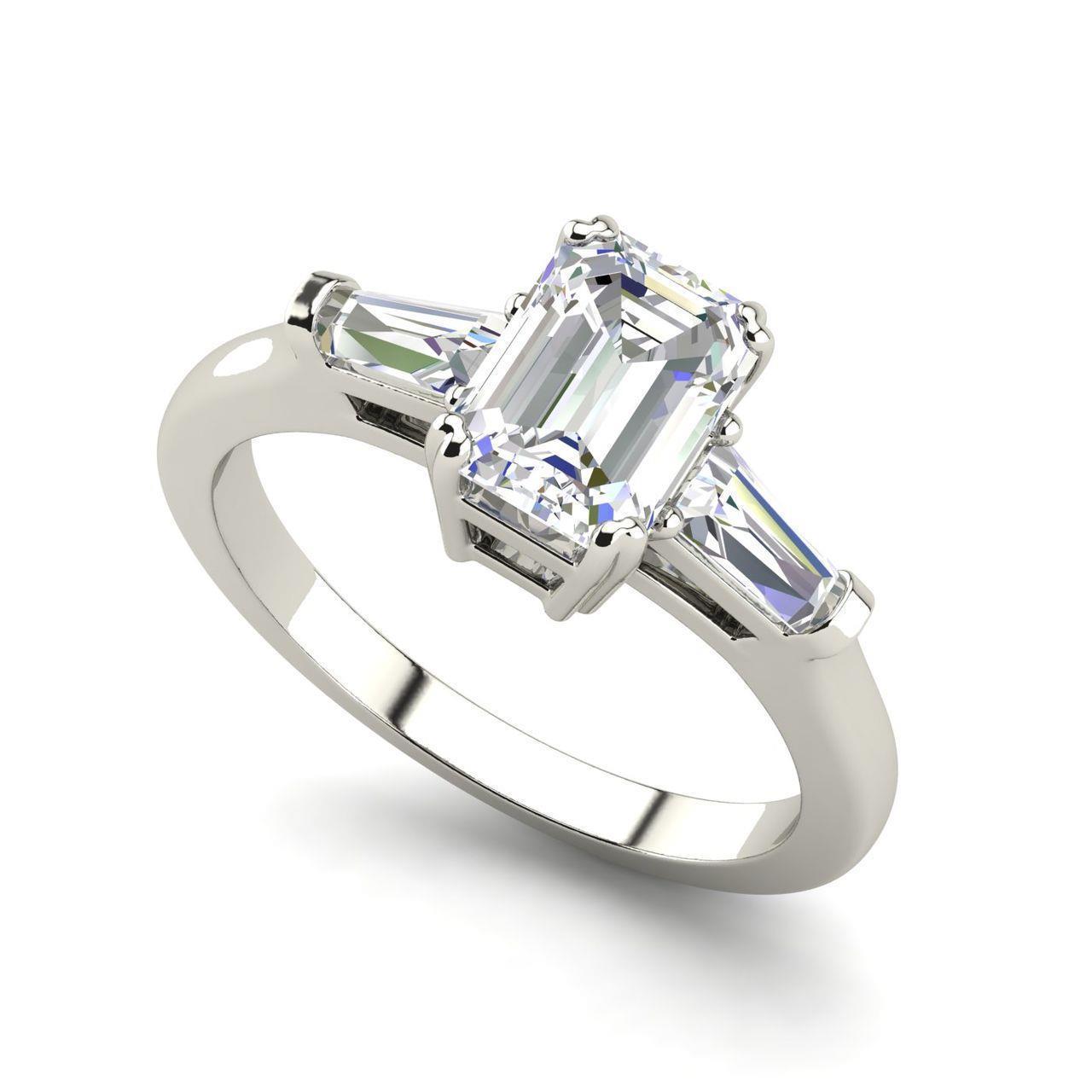 Baguette Accents 2 5 Ct Vs2 D Emerald Cut Diamond Engagement Ring White Gold Ebay