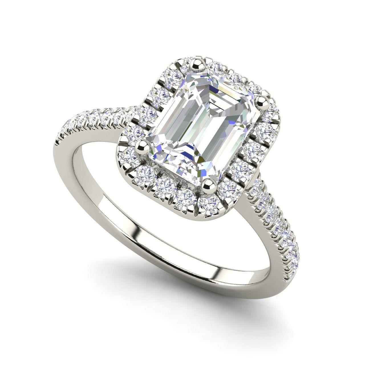 6c5065fb7 Halo Pave 2.1 Carat VS1/H Emerald Cut Diamond Engagement Ring White Gold