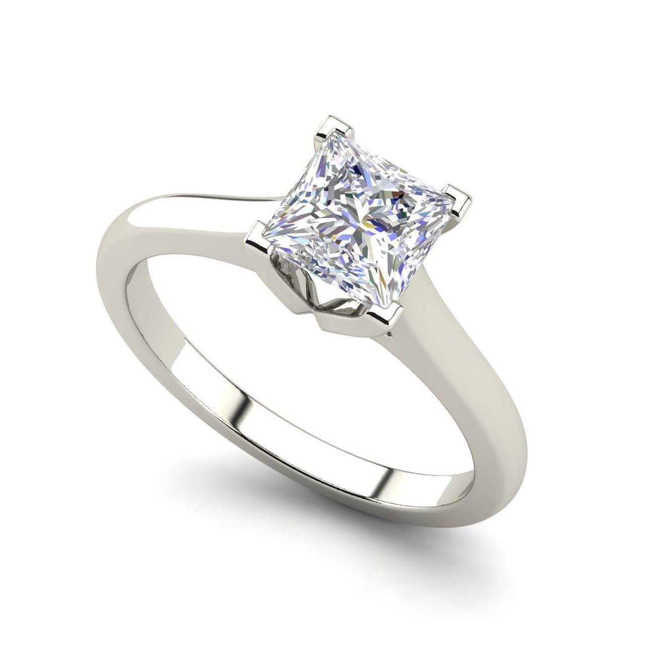Solitaire 1 Carat Vvs2 F Princess Cut Diamond Engagement Ring White Gold Ebay