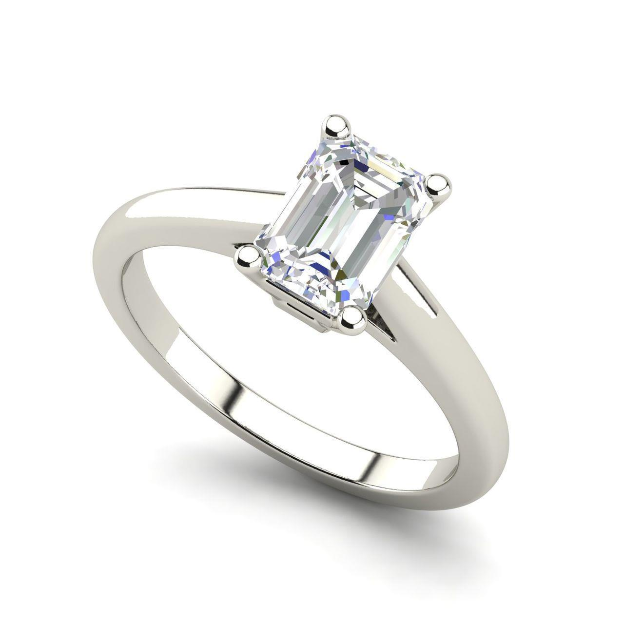 Solitaire 0 5 Carat Vvs2 F Emerald Cut Diamond Engagement Ring White Gold Ebay