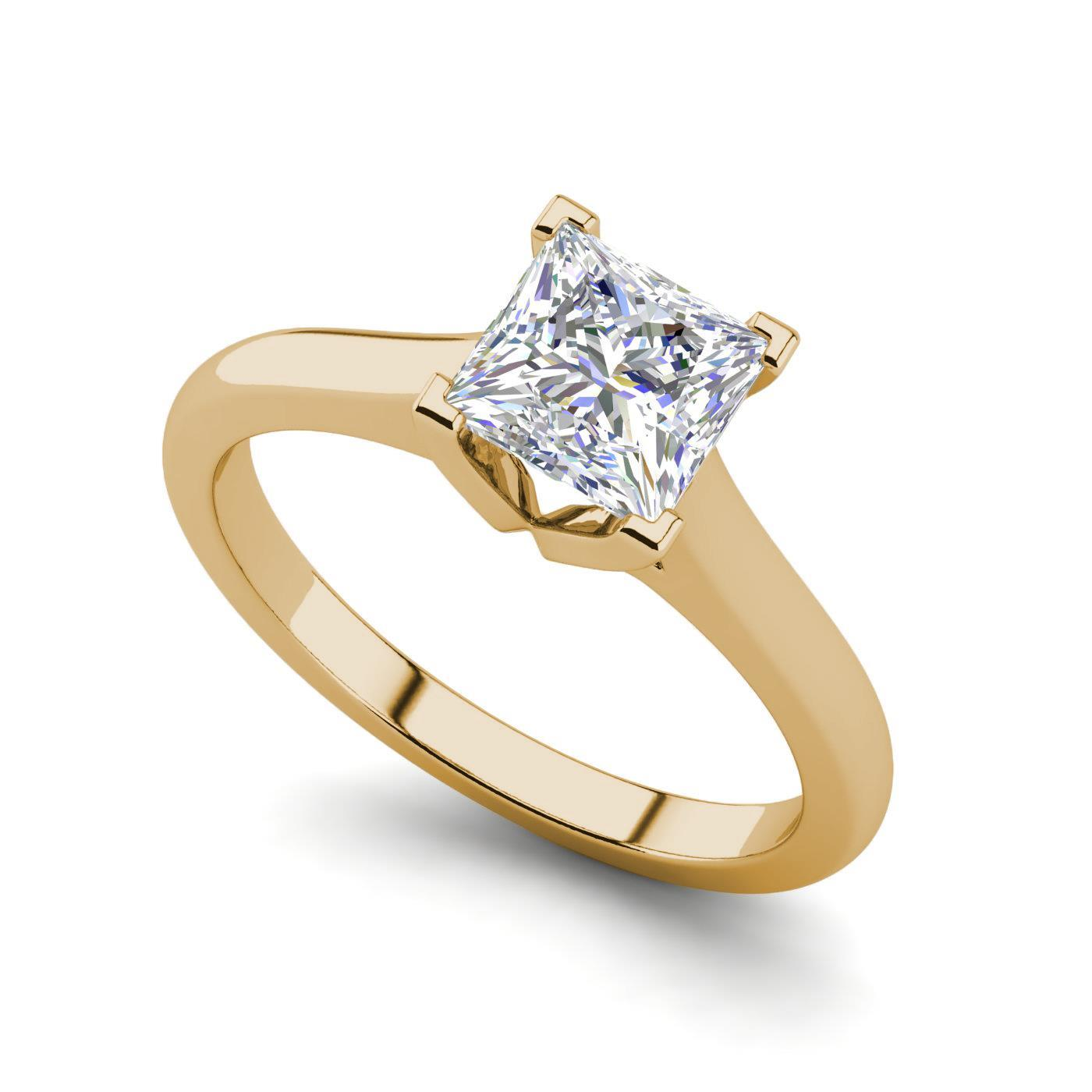 Solitaire 0 5 Carat Vvs2 F Princess Cut Diamond Engagement Ring Yellow Gold Ebay