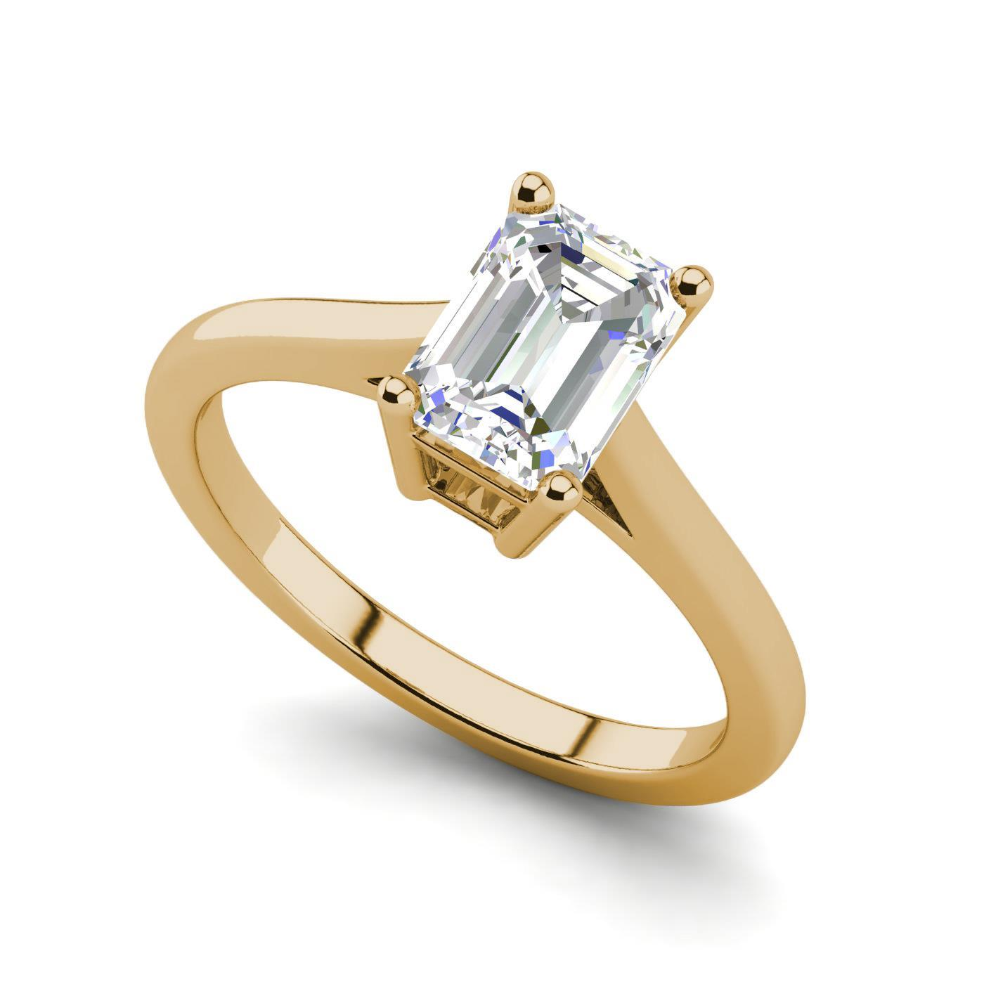 4 Prong 0 5 Carat Vs2 H Emerald Cut Diamond Engagement Ring Yellow Gold Ebay