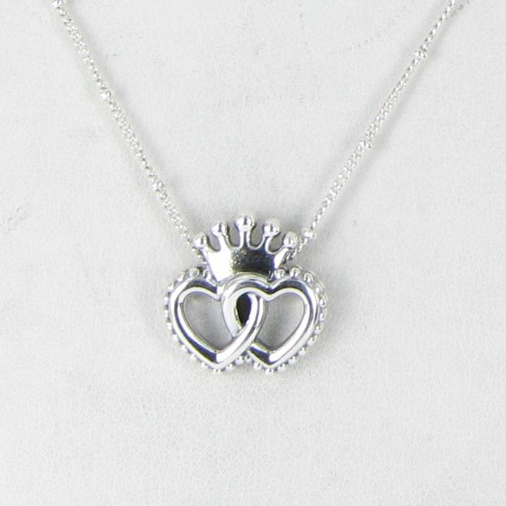 bd5680bfc PANDORA 397719-45 United Regal Hearts Sterling Silver Necklace 45cm ...