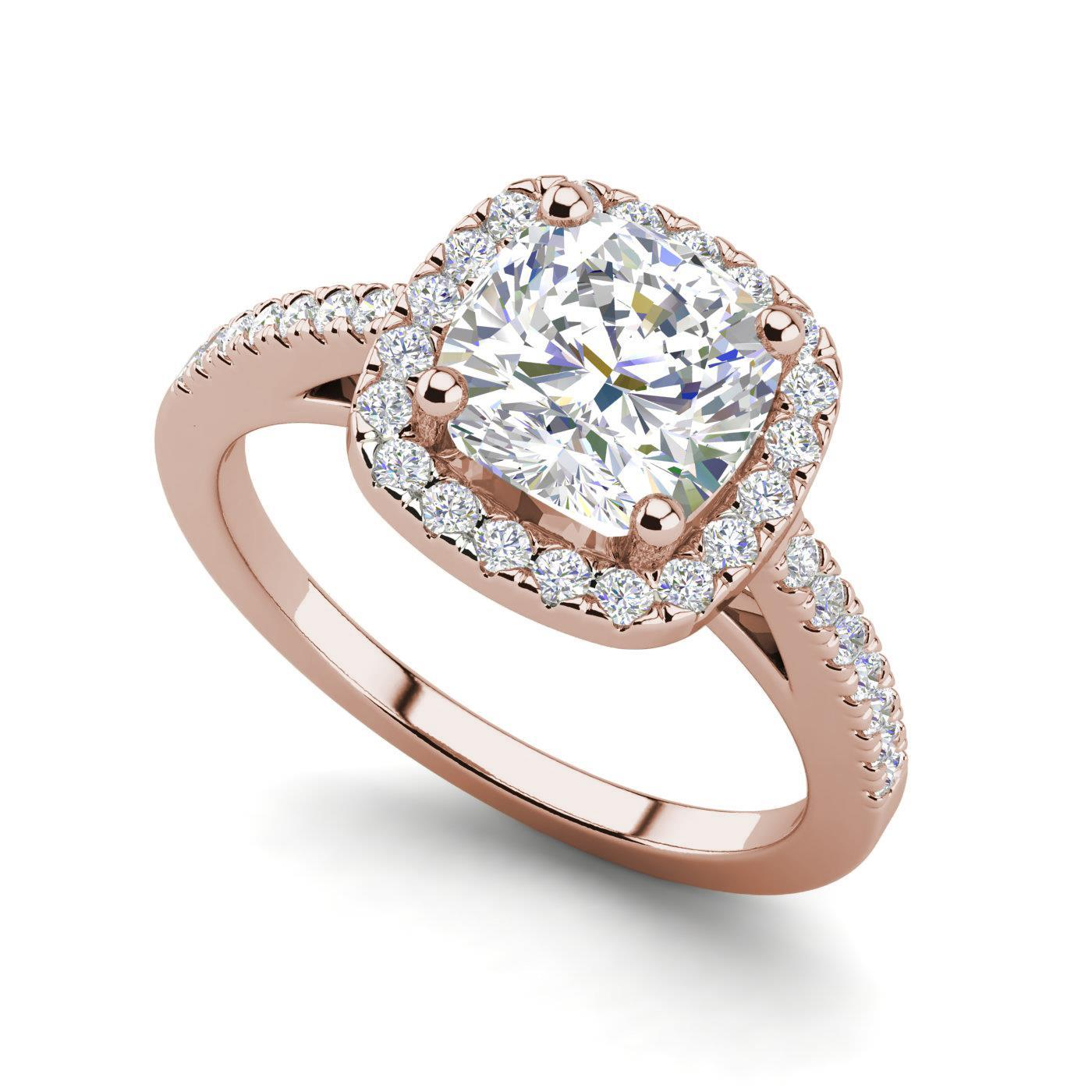 Details About Halo 1 95 Carat Si1 F Cushion Cut Diamond Engagement Ring Rose Gold