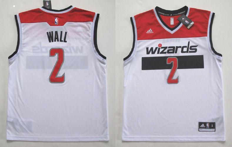 super popular 614a9 e30ea Details about ADIDAS WASHINGTON WIZARDS JOHN WALL REPLICA WHITE JERSEY 2XL