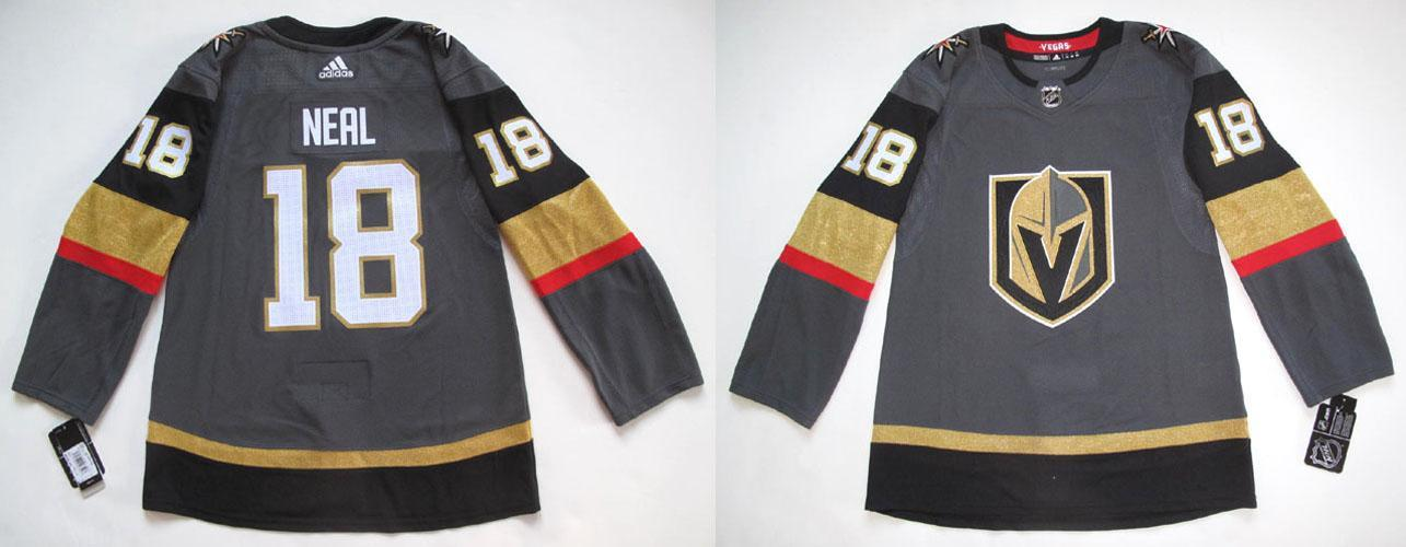 size 40 3715f aa65b Details about ADIDAS VEGAS GOLDEN KNIGHTS JAMES NEAL AUTHENTIC GRAY HOME  JERSEY 44