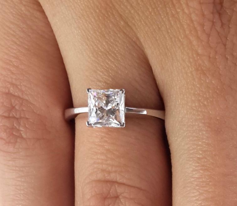 d5befb99744 Details about 1.5 Carat Princess Cut Diamond Engagement Ring SI1/D White  Gold 14k