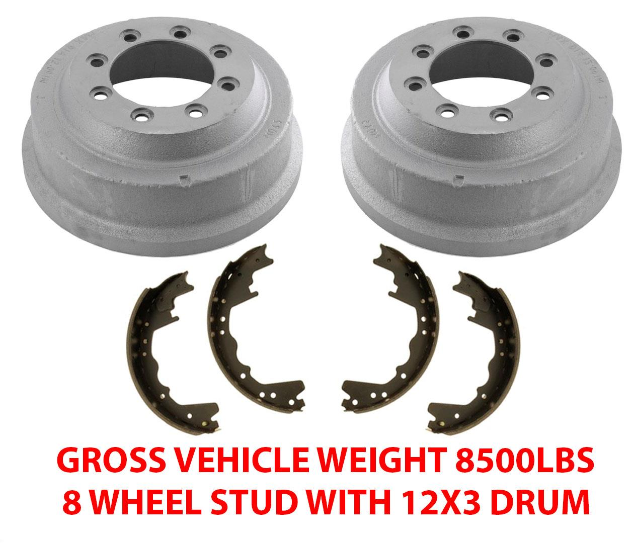 Details About Fits 85 98 Ford F250 8500 Gvw 8 Stud 12x3 Inch Rear Brake Drums Brake Shoes