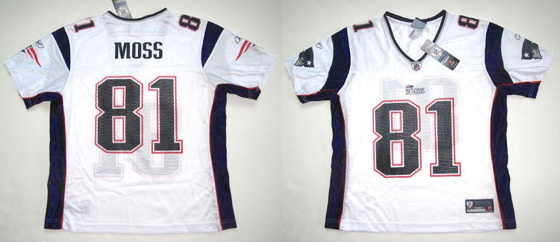 the latest 79f54 ec24e Details about RBK NEW ENGLAND PATRIOTS RANDY MOSS WOMEN'S REPLICA WHITE RD  JERSEY S