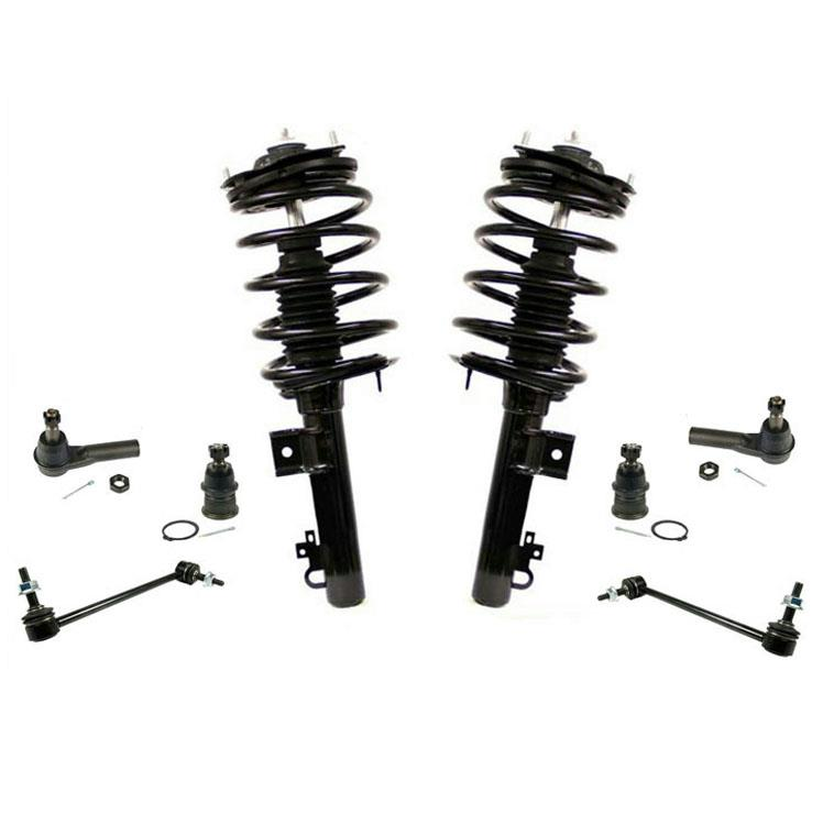 Corolla 03-08 Front Complete Spring Struts Outer Tie Rods and Sway Bar links