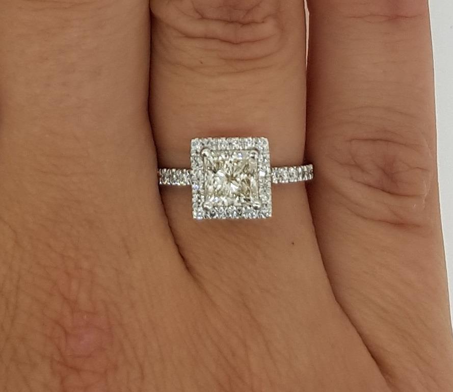 2 Ct Square Pave Princess Cut Diamond Engagement Ring Si2 G White Gold 14k Ebay