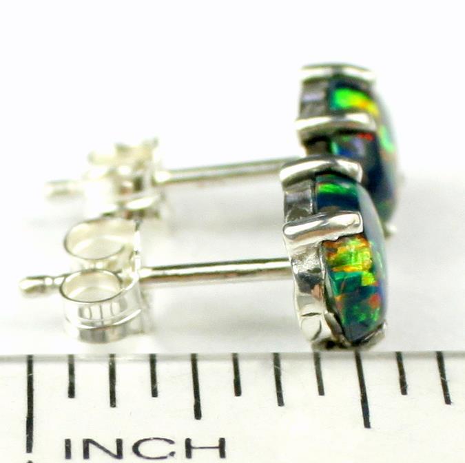 SE002C Created BlueGreen Opal 925 Sterling Silver Post Earrings