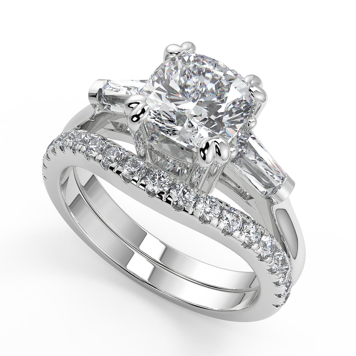 1.8ct Round Baguette Cut Engagement Bridal Solitaire 3-Stone Ring 14K White Gold