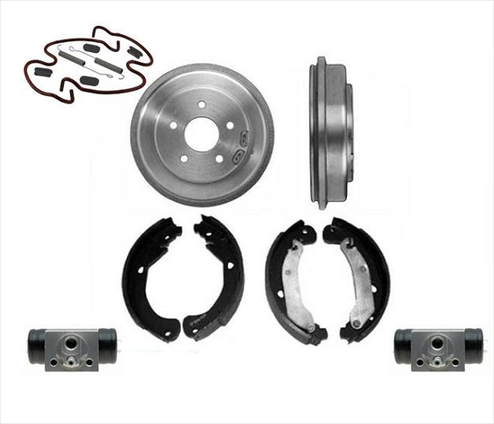 Fits For 2005-2007 Malibu 2 Rear Brake Drums and New Shoes Springs 4pc