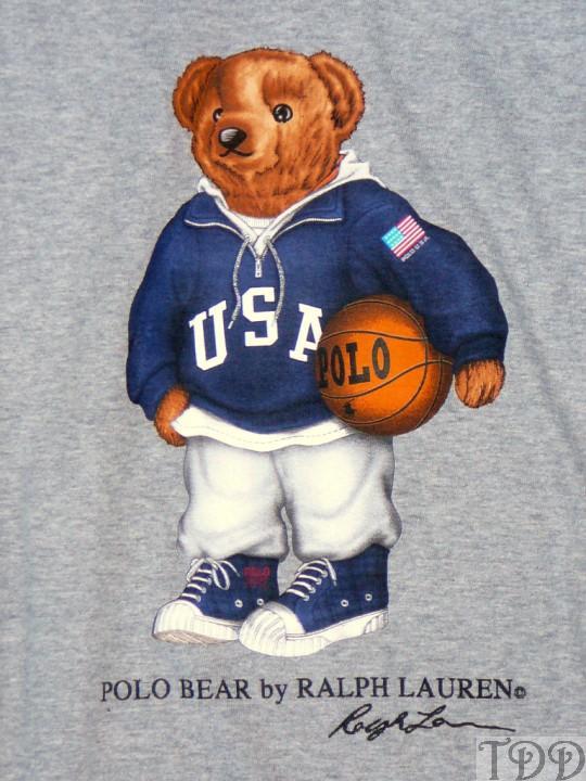 NWT Polo Ralph Lauren Gray Basketball Bear T-Shirt New