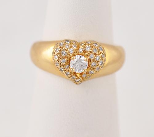 Vintage Van Cleef & Arpels Vca Diamond Heart 18k Ring