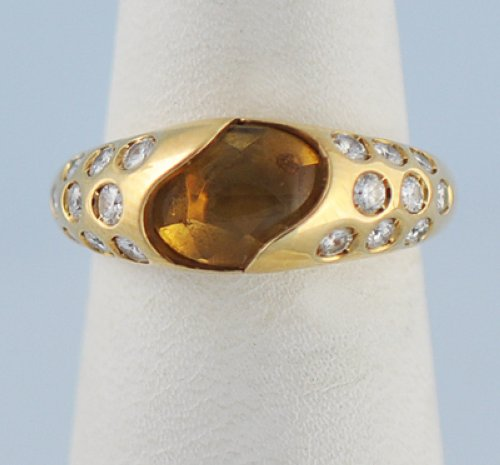 Chaumet Orange Citrine Diamond Solid 18k Gold Ring