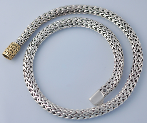 John Hardy 8mm 18k Sterling Silver Braided Chain 16