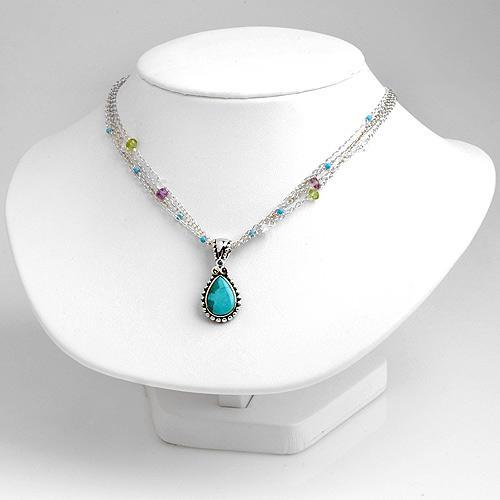 Turquoise Beads Beaded Sterling Silver Chain Necklace Ebay