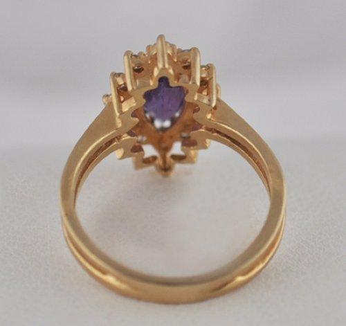Vintage Amethyst Diamond 14k Gold Ring Ebay
