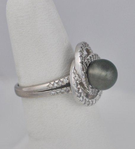 Vintage Tahitian Pearl Diamond 18k White Gold Ring Ebay