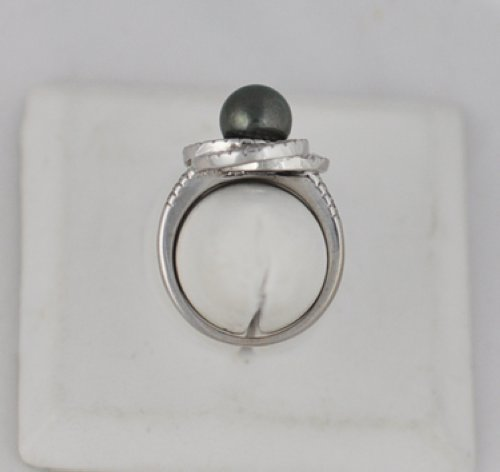 Vintage Tahitian Pearl Diamond 18k White Gold Ring Ebay