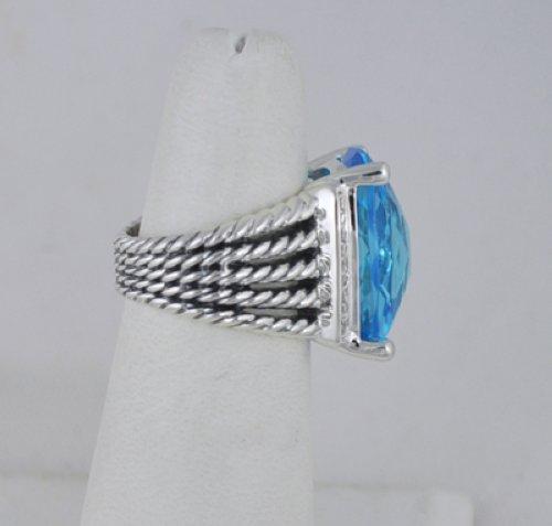 David Yurman 20x15mm Blue Topaz Wheaton Sterling Diamond