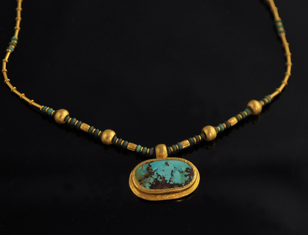 Turkey Turkish Solid Turquoise Bead 24k Gold Necklace