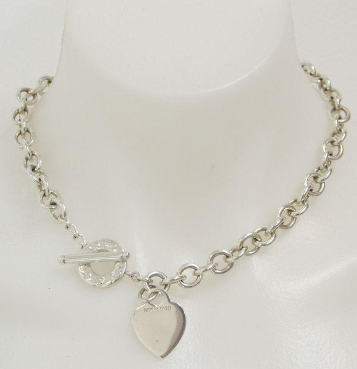 Tiffany & Co. Sterling Chainlink Heart Toggle Necklace