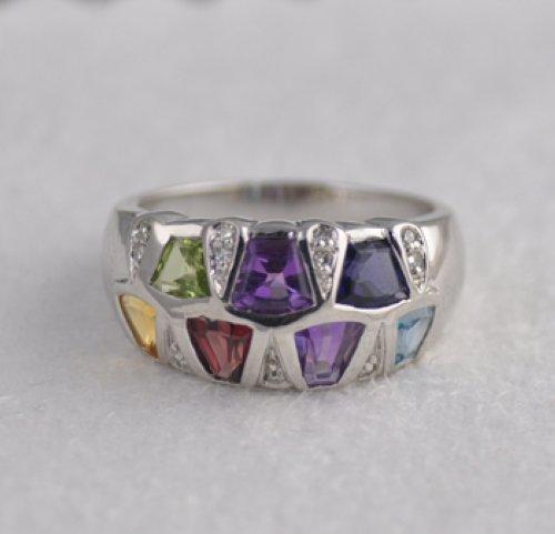 genuine multi gemstone 14k white gold wg ring