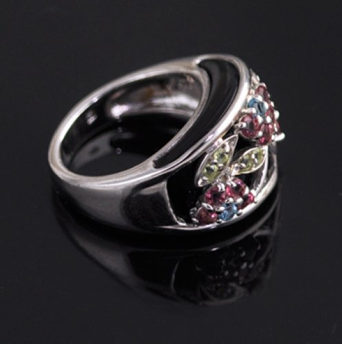 Multi Gemstone Sterling Silver 925 Ss Colorful Gem Ring