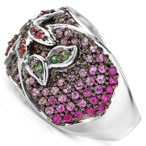 Flower Sapphire Green Tsavorite Garnet 14k Gold 7 Ring Ebay