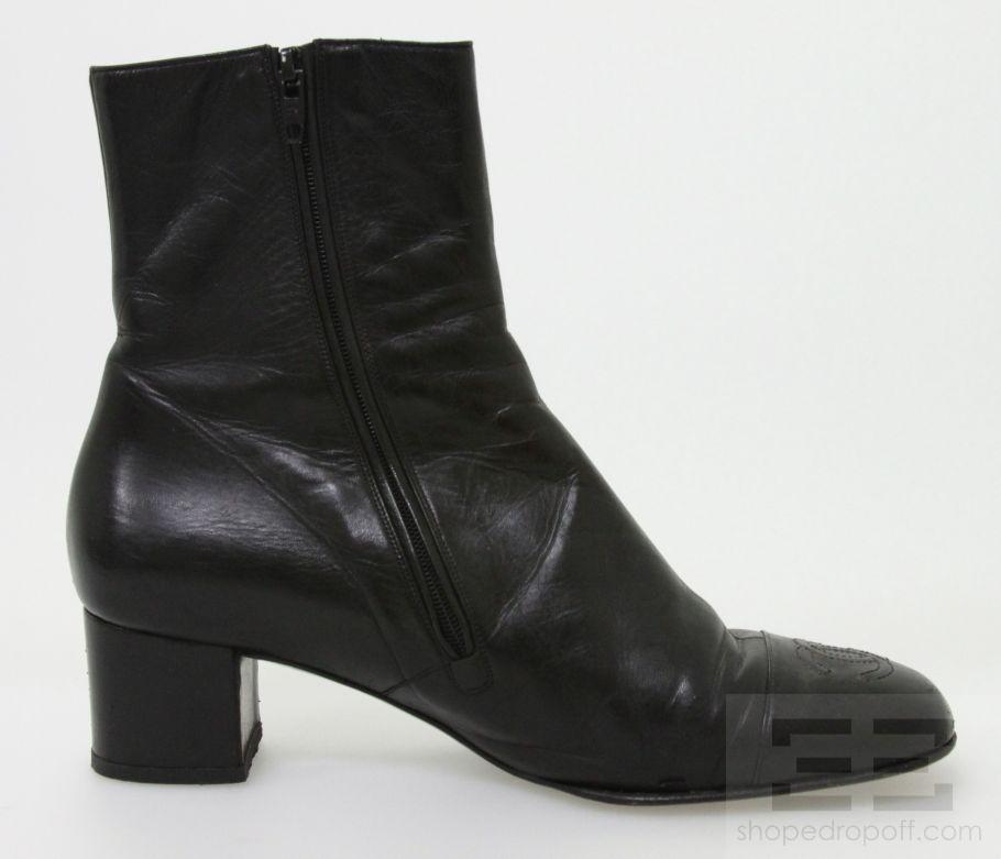 chanel black leather low heel side zip ankle boots 37 ebay