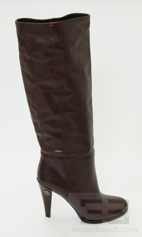 gucci chocolate brown leather knee high heel boots size 9