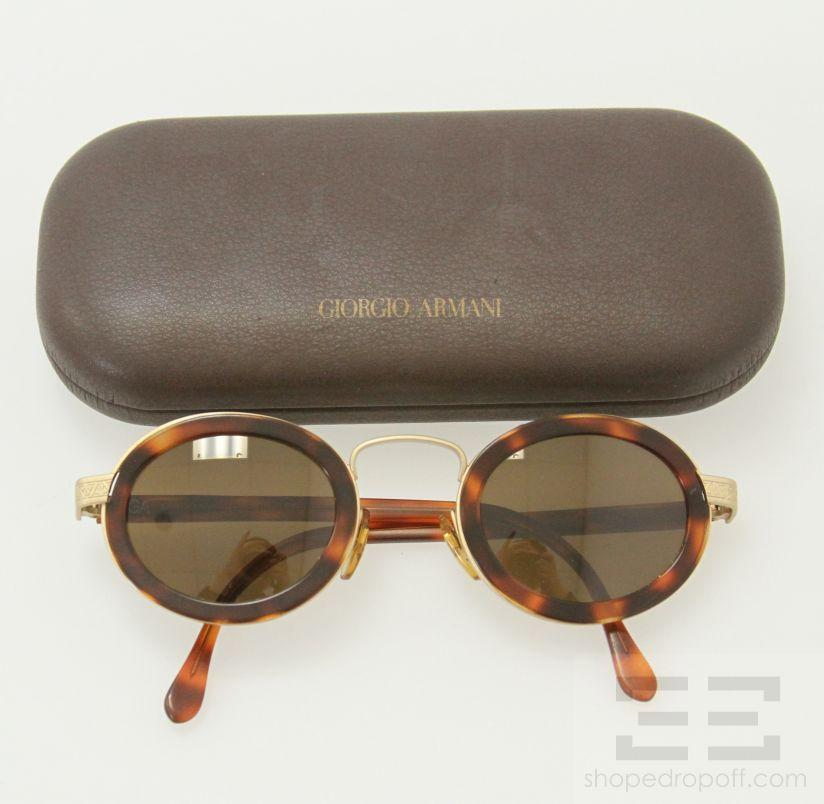 Armani Gold Frame Sunglasses : Giorgio Armani Vintage Tortoise Round Frame Sunglasses eBay