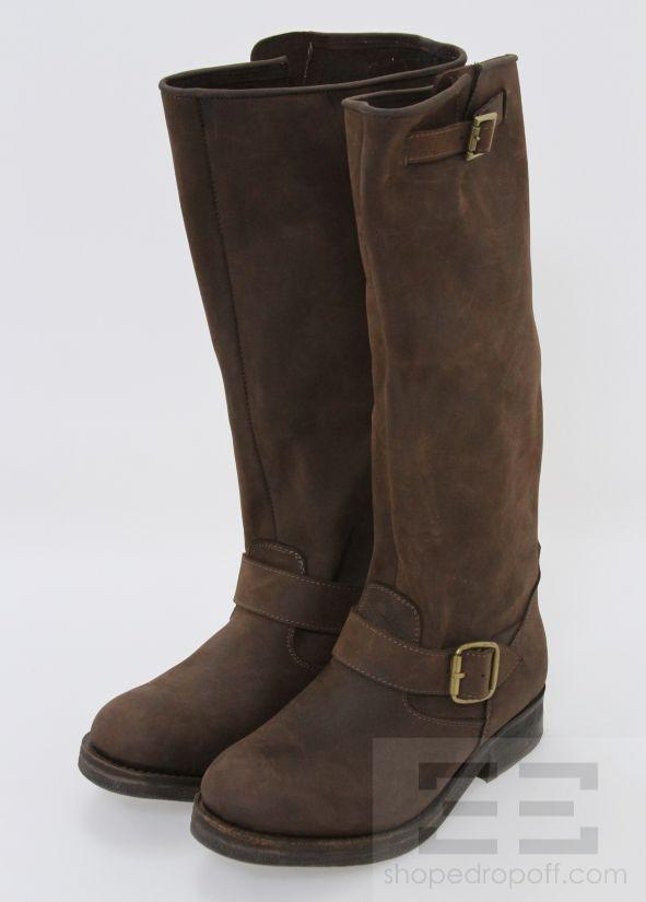 jeffrey cbell brown leather sueded flat boots