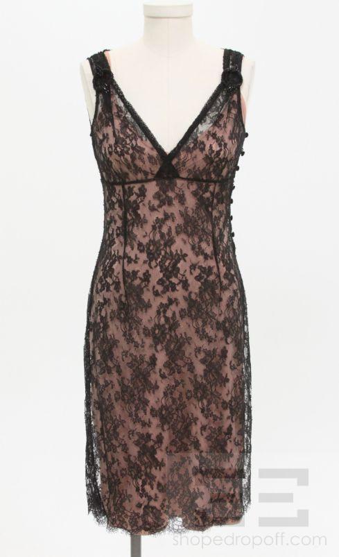 Collette Dinnigan Black Lace Overlay & Pink Slip ...