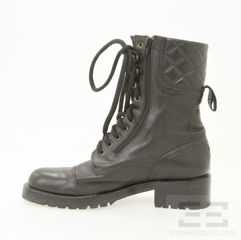 Chanel Quilted Leather Combat Boots Chanel Black Quilted Leather