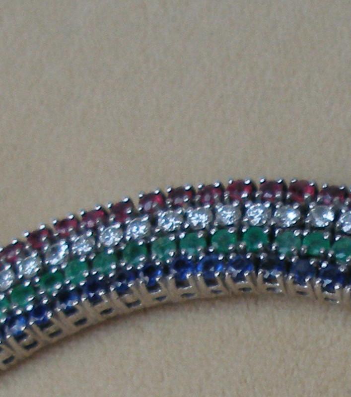 Estate Vintage Diamond Ruby Emerald Sapphire Necklace Ebay