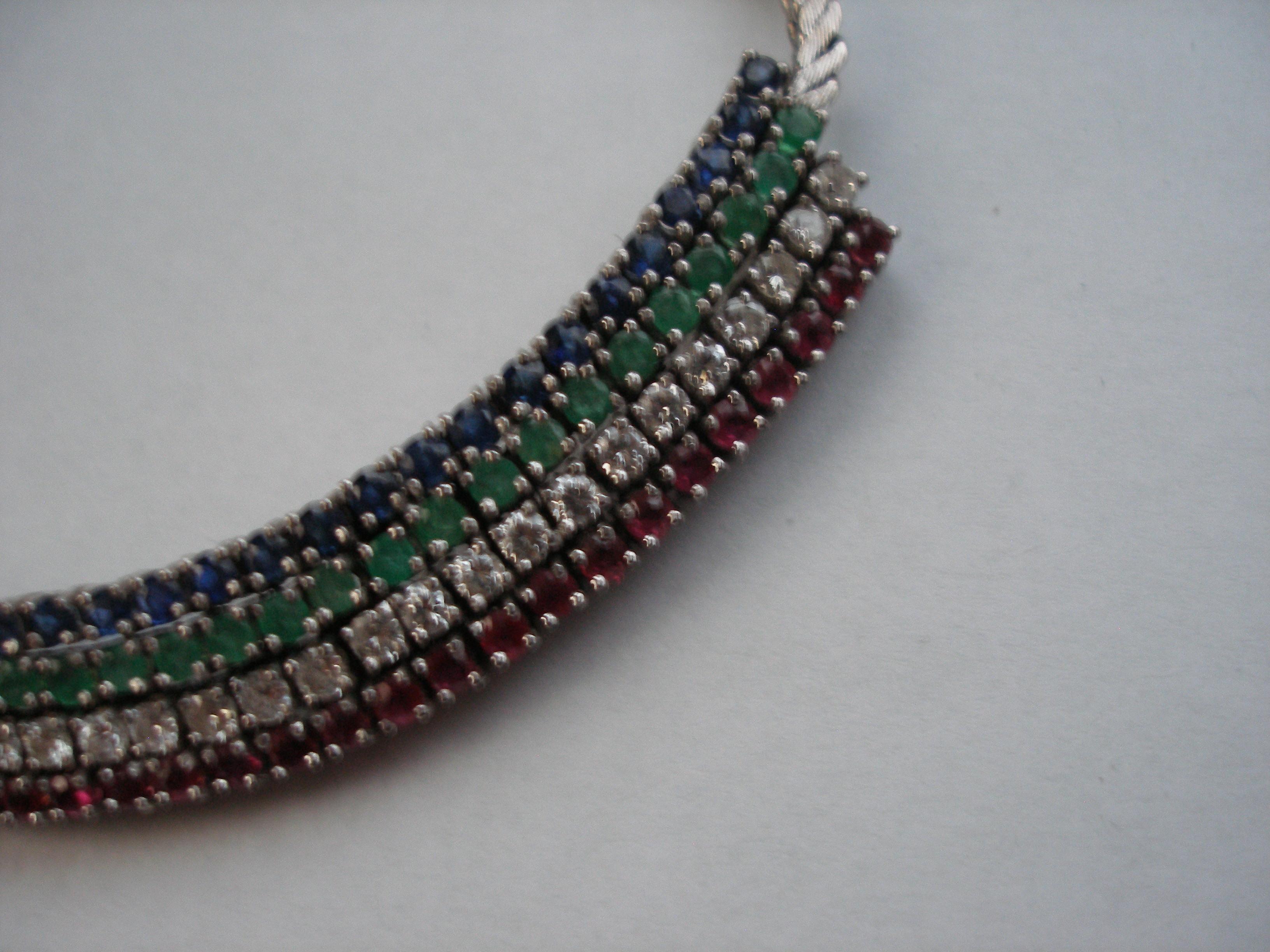 Estate Vintage Diamond Ruby Emerald Sapphire necklace